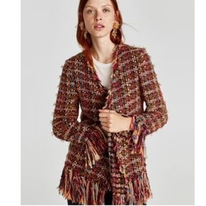 ZARA Multi Color Tweed Fringed Cardigan XL